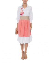 Elenat White and Pink Flamingo Shirt Dress