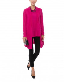 Sophie Raspberry Pink Cable Knit Cashmere Cardigan