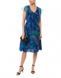 Blue Abstract Floral Printed Silk Dress