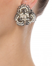 Anastasia Silver Beaded Clip Earrings