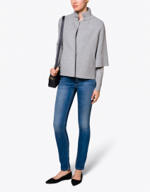 Heather Grey Top with Button Cuff Detail
