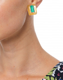 Gold and Malachite Retro Button Clip Earring