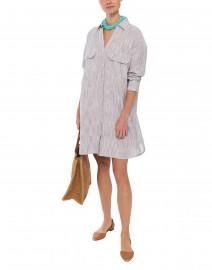 Space Kara Blue Striped Cotton Shirt Dress