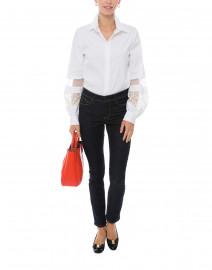 White Lace Sleeve Cotton Button Down Shirt