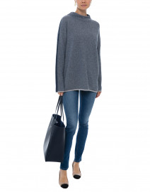 Grey and Navy Easy Jacquard Cashmere Sweater
