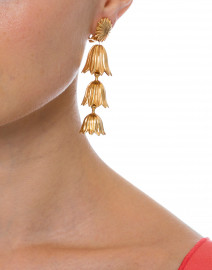 Gold Tiered Flower Clip On Earrings
