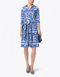 Audrey Blue Ibiza Tile Print Stretch Cotton Shirt Dress