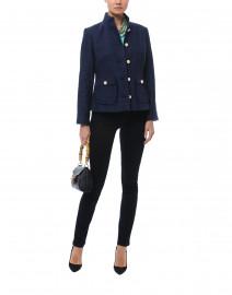 Navy Short Cotton Tweed Jacket