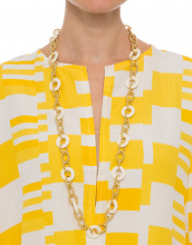 Gold and White Knotted Chain Link Necklace