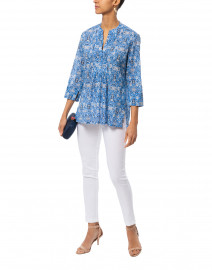 Chica Arles Cobalt Blue and White Printed Top