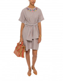 Dana Blue and Pink Striped Embroidered Linen Dress