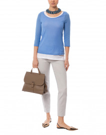 Azure Blue and White Cotton Double Layer Top