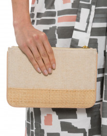 Elie Blush Canvas and Straw Pouch with Blush Piping