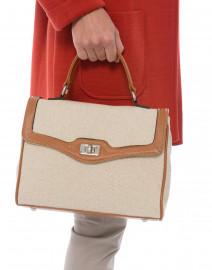 Lauren Light Brown Leather and Linen Bag