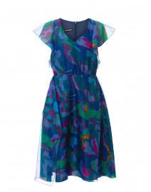 0b2259b9c9a3 ... look Emporio Armani Blue Abstract Floral Printed Silk Dress  1