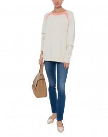 Cream Cashmere Sweater with Pink Trim