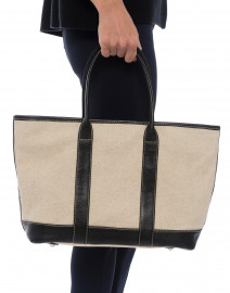 Heloise Black Leather and Light Linen Canvas Tote