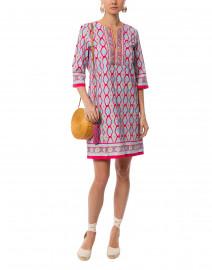Quinn Pink Ikat Printed Stretch Cotton Dress