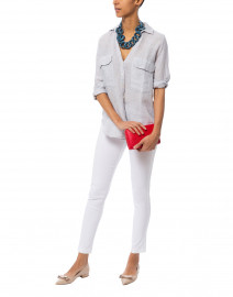 Jeni Blue and White Striped Linen Button Down Shirt