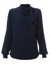 028697240533d4 ... look Seventy Navy Silk Blouse with Tie Collar $250 ...