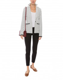White and Navy Striped Cotton Blazer