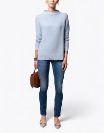 Pale Blue Garter Stitch Cotton Sweater