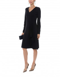 Navy Crepe Dress with Ruffle Front