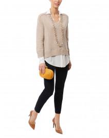 Beige Sweater with White Underlayer