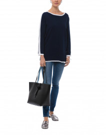 Navy Cotton Sweater with White Mesh Detail