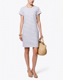 White and Navy Striped Stretch Cotton Dress