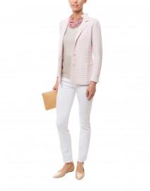 Albion Pink and White Silver Lurex Knit Blazer