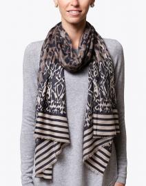 Beige Multi Leopard Printed Silk Cashmere Scarf