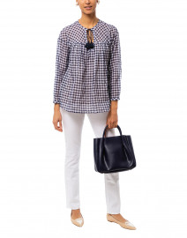 Navy and White Gingham Stretch Cotton Top
