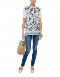Fondi White and Teal Floral Printed Silk Top
