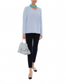 Pale Blue Ribbed Knit Sweater