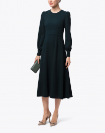 Idaho Fern Green Wool Crepe Dress