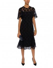 Harmonia Black and Blue Lace Midi Dress