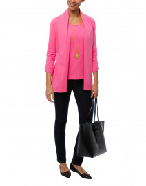Punch Pink Ruched Sleeve Cotton Cardigan