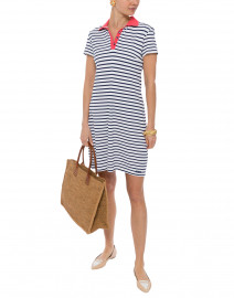 Agen White and Navy Striped Jersey Polo Dress