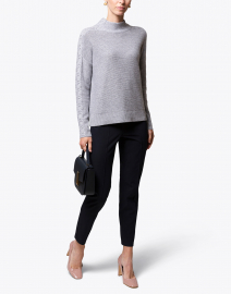 Grey Mixed Rib Cashmere Sweater