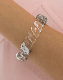 Clear Crystal Encrusted Rope Hinge Bracelet