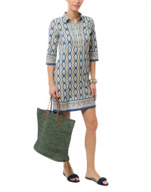 Quinn Indigo Ikat Printed Stretch Cotton Dress
