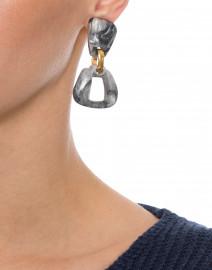 Zya Grey Resin Drop Clip On Earrings