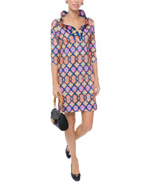 Haveli Navy Geometric Print Ruffle Neck Dress