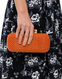Catalina Woven Orange Clutch