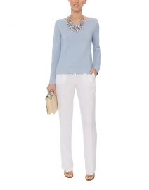 Sky Blue Boatneck Ribbed Cotton Sweater