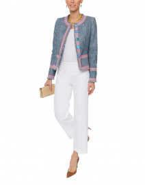 Denim Tweed Short Jacket with Pink Trim