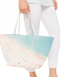 Light Beach Digital Printed Pebbled Leather Tote