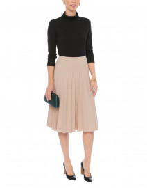 Nude Wool Blend Skirt with Graduated Pleats