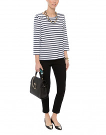 Galathee White and Navy Striped Shirt